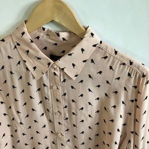 Talbots Pink Blouse with Black Bird Print L